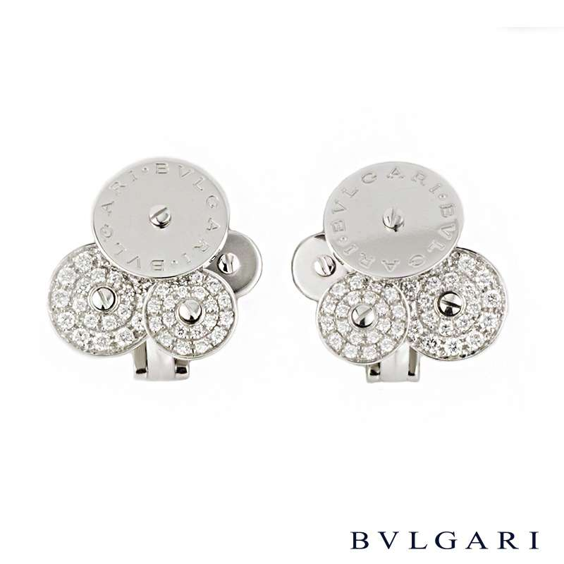 Bvlgari 18k White Gold Diamond Set Cicladi Earrings